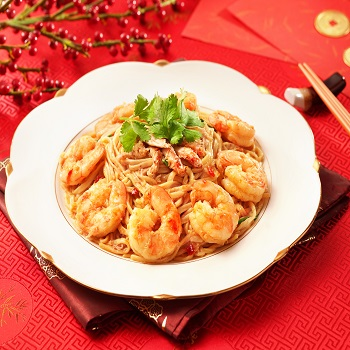 Braised Prawns Crab meat and Efu Noodles in Oyster Sauce350x350