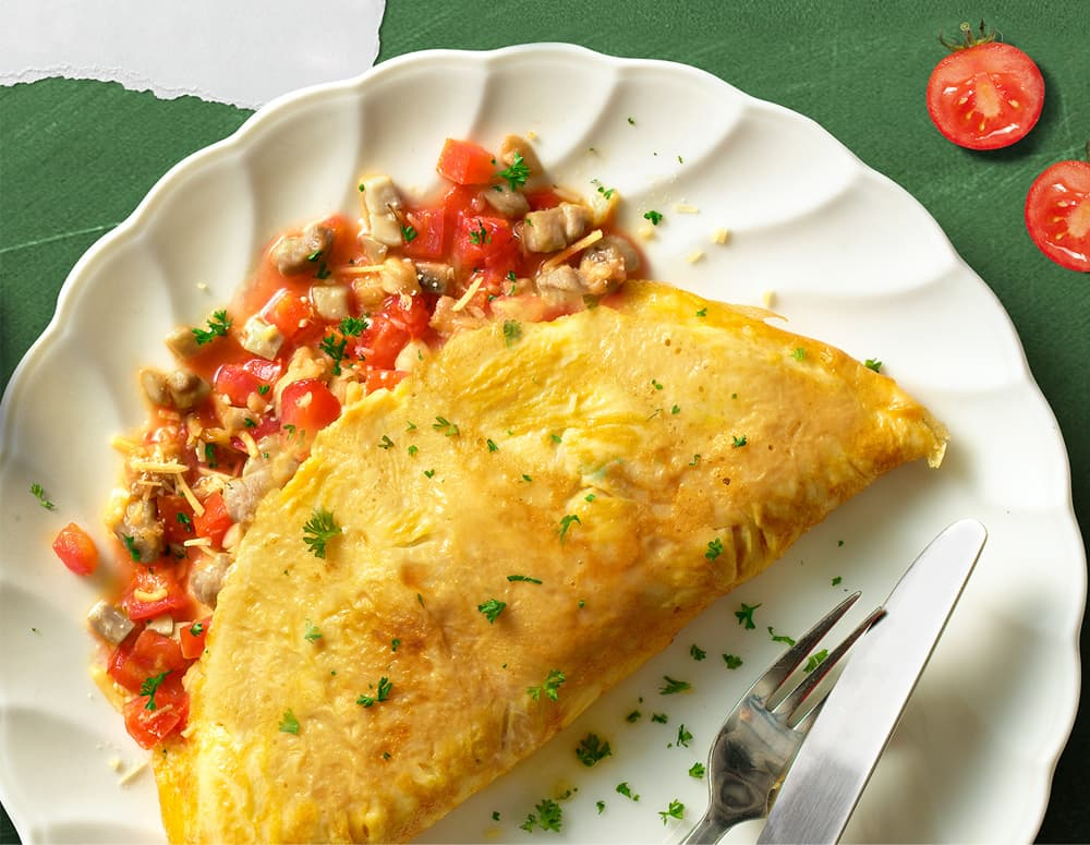 Recipe Chicken, Mushroom and Tomato Omelet