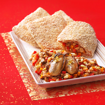 Recipe Sauted Oyster Dice in Sesame Puff