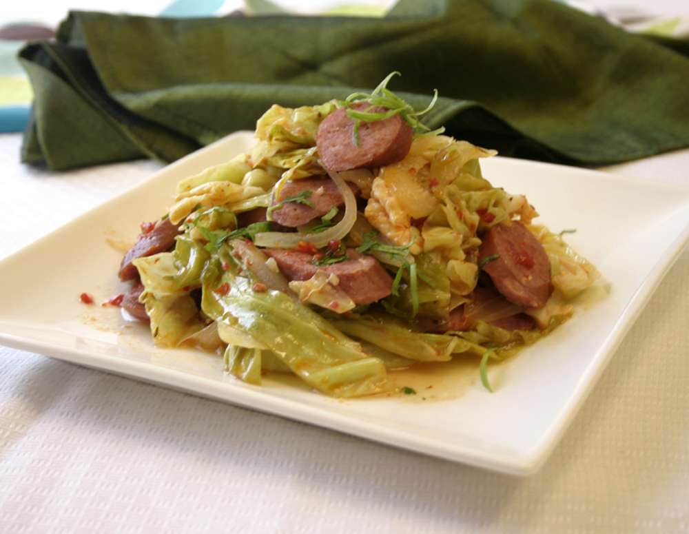 Recipe Cabbage and Sausage with Chili Garlic Sauce