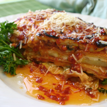 Recipe Flour Tortilla Vegetable Lasagna with Chili Garlic Sauce
