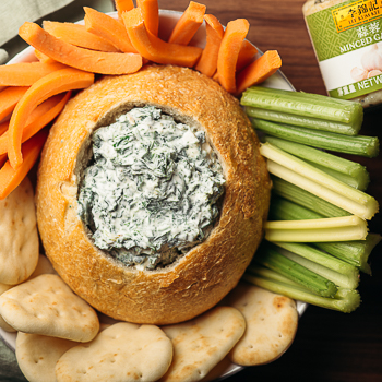 Recipe Garlic & Spinach Dip in a Bread Bowl S