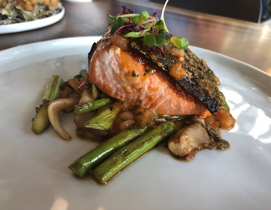 Recipe Grilled Fillet of Salmon with Oyster  Roe Butter Sauce