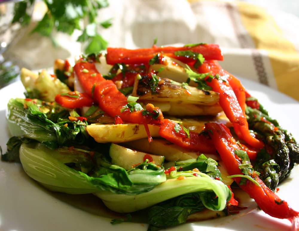 Recipe Grilled Vegetables with Premium Soy Sauce and Herbs