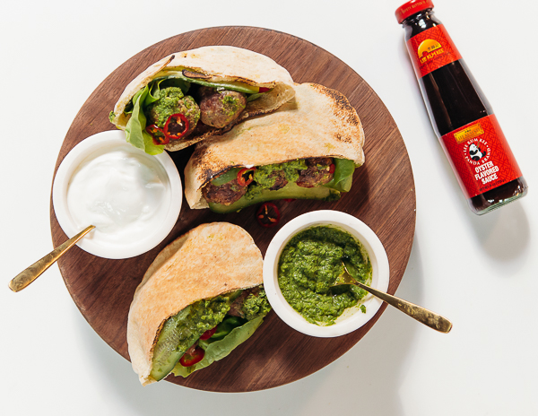 Recipe Healthy Lamb Meatballs in Pita