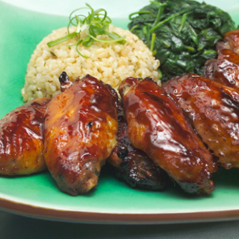 Recipe Hoisin Flavored Angel Wings Served with Rice Pilaf