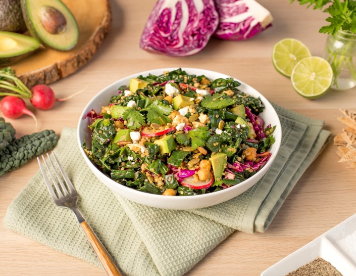 Recipe Kale and Quinoa Salad with Sweet Soy and Lime Dressing S