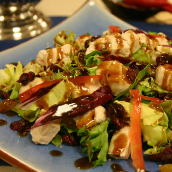Recipe Mixed Green Salad with Poached Chicken and Hoisin Sauce