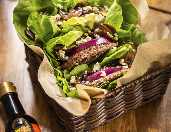Recipe Mushroom and Blue Cheese Lettuce Wrapped Burger