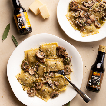 Recipe Mushroom Ravioli with Sage Butter & Wine Sauce S