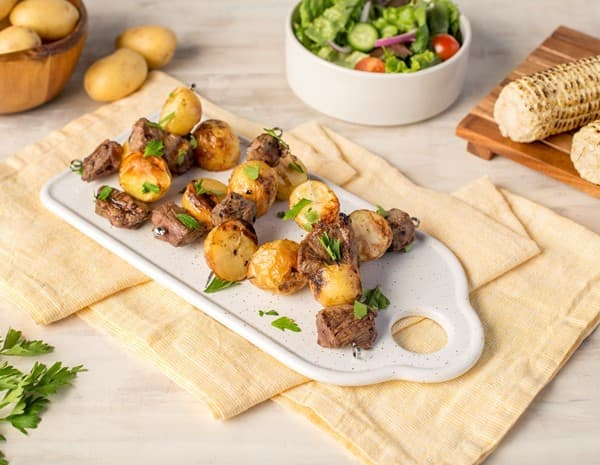 Recipe Oyster Sauce Steak and Potato Kebabs
