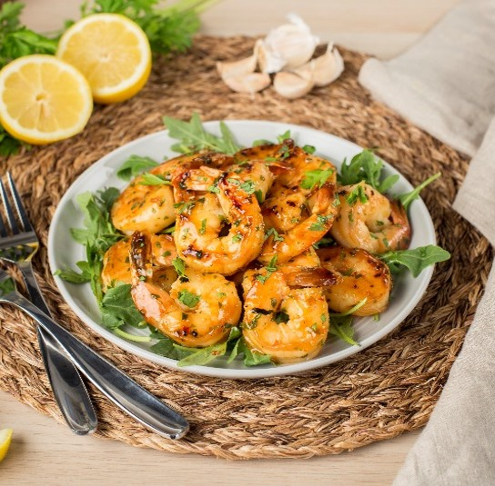 Pan Fried Shrimp with Mixed Herbs and Triple Citrus Sauce S