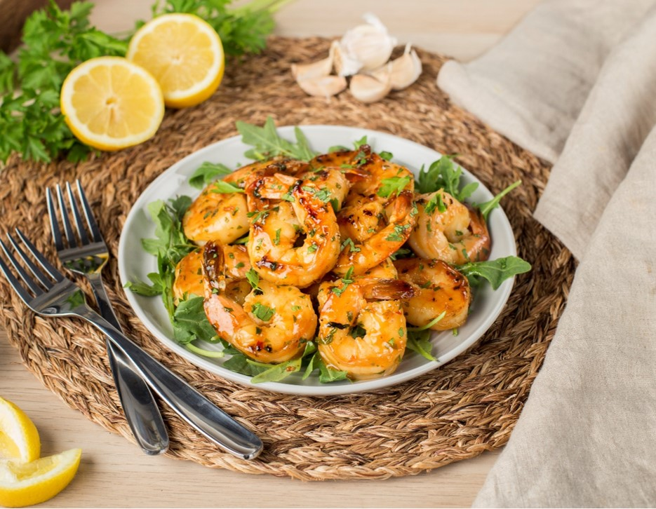 Pan Fried Shrimp with Mixed Herbs and Triple Citrus Sauce