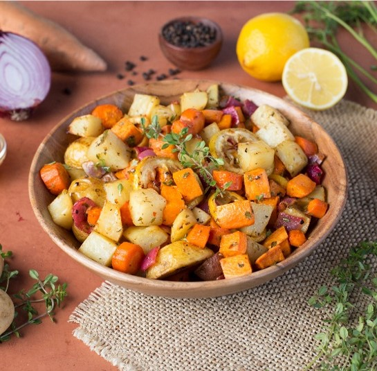 Roasted Root Vegetables with Lemon Pepper Sauce S