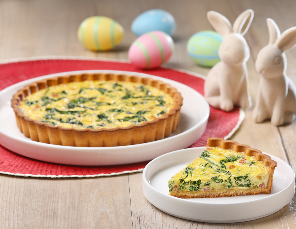 Recipe Spinach and Bacon Quiche with Oyster Sauce