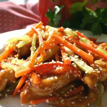 Recipe String Vegetables with Sesame Chicken
