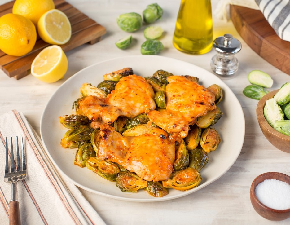 Sweet and Spicy Baked Chicken Thighs with Brussels Sprouts