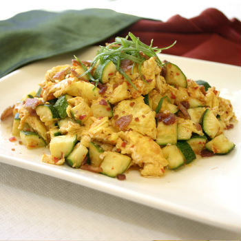 Recipe Zucchini Scrambled Eggs and Bacon